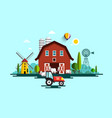 eco farm with barn tractor windmills and cows vector image vector image