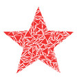five-pointed star collage of triangles vector image vector image
