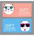 Gift Voucher Template with Cute Hand drawn Cat vector image