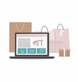 group of shopping bags and box with laptop vector image vector image