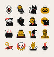 halloween cartoon icon set vector image