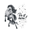 hand drawn rearing horse with ram horns vector image vector image