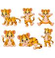 happy tiger cartoon set collection vector image