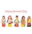happy womens day greeting card with cartoon ladies vector image vector image