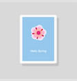 hello spring greeting card minimalist style vector image vector image