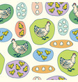hen little chickens and eggs seamless pattern vector image vector image
