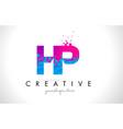 hp h p letter logo with shattered broken blue vector image vector image