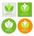 Logos set vegetarian vegan organic food diet vector image vector image