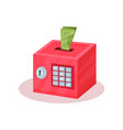 money box in form of pink safe with lock buttons vector image