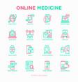 online medicine telemedicine thin line icons set vector image vector image