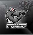panda gunner esport mascot logo design vector image