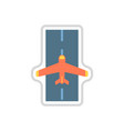 paper sticker on white background airplane runway vector image vector image