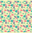 pattern with flamingo and palm leaves exotic vector image