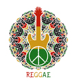 peace symbol and guitar on ornate mandala vector image vector image