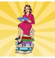 Pop Art Young Woman Sitting and Reading Book vector image vector image