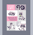 raccoon cafe poster advertisement vector image vector image