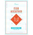 seafood menu design template vector image vector image