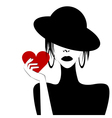 Sexy woman portrait holding a heart vector image vector image