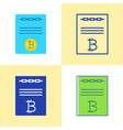 smart contract icon set in flat and line style vector image vector image