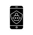 smartphone security black glyph icon vector image vector image