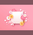 spring paper cut pink flower copy space template vector image vector image