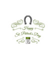 st patrick s day calendar horseshoe swirls vector image