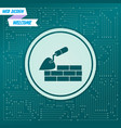 trowel building and brick wall icon on a green vector image