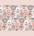 vintage pale pink geometric flower pattern vector image vector image