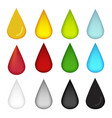 water drop in many color oil blood water milk and vector image