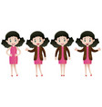 woman in pink dress doing different actions vector image vector image