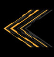 yellow grey arrow futuristic direction on black vector image vector image