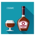 Bottle and glass of cognac in flat design style vector image