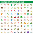 100 flora and fauna icons set cartoon style vector image