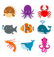 animal ocean aquatic sea life funny cartoon vector image vector image
