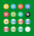 billiard balls collection in flat style vector image vector image