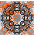 Black ornate mandala with orange splashes vector image