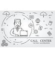 Call center thin line design vector image vector image
