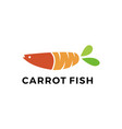 carrot fish logo icon vector image