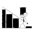 cartoon of business man working on growth chart vector image