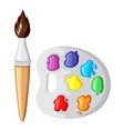 cartoon paintbrush and palette paints vector image vector image
