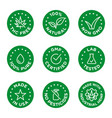 cbd oil icons set including thc free 100 natural vector image vector image