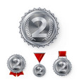champion silver medals set metal realistic vector image vector image