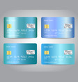 credit cards set with blue gold metallic gradient vector image vector image