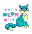 cute girlish with cartoon cat vector image vector image