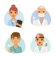 Doctors spetialists faces set vector image vector image