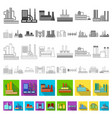factory and facilities flat icons in set vector image vector image