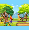 five little monkeys jumping in park vector image vector image