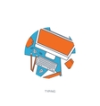 Flat laptop Tell your story vector image