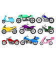 flat set of colorful motorcycles and vector image