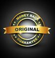 golden mney back guarantee label vector image vector image